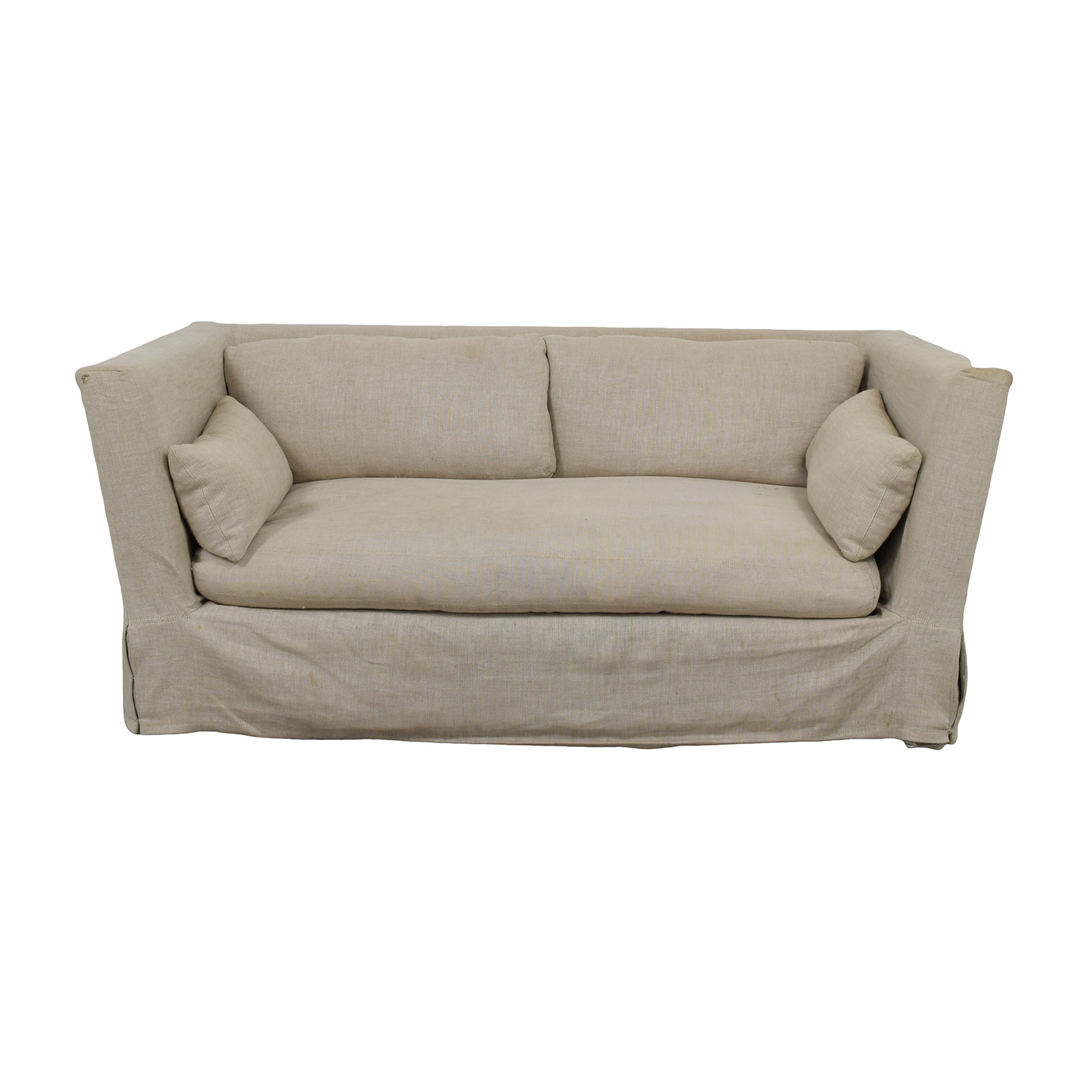 Restoration Hardware Grey Single Cushion Slipcover Sofa sale