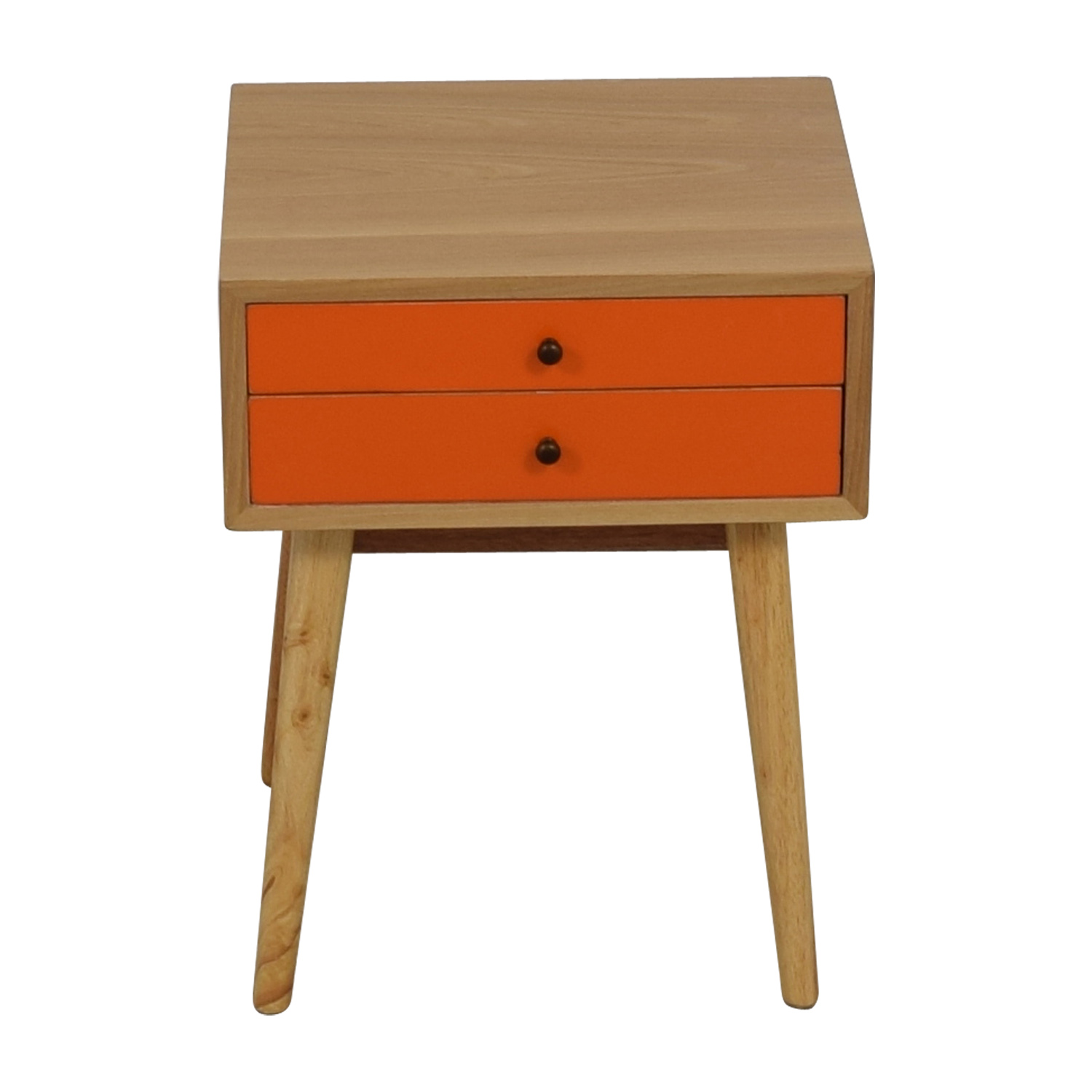 shop Orange and Wood Art Deco Single Drawer Nightstand