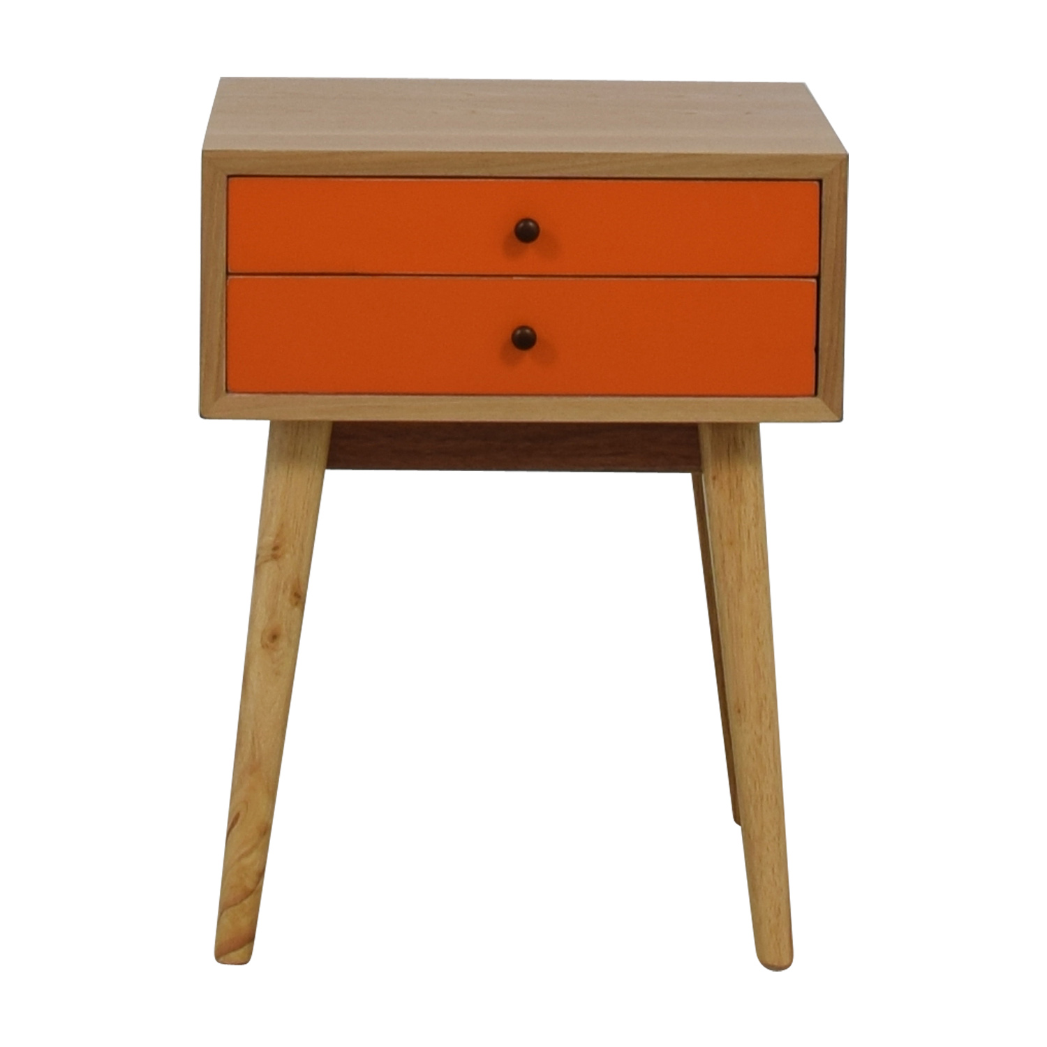 Orange and Wood Art Deco Single Drawer Nightstand for sale