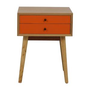 Orange and Wood Art Deco Single Drawer Nightstand discount