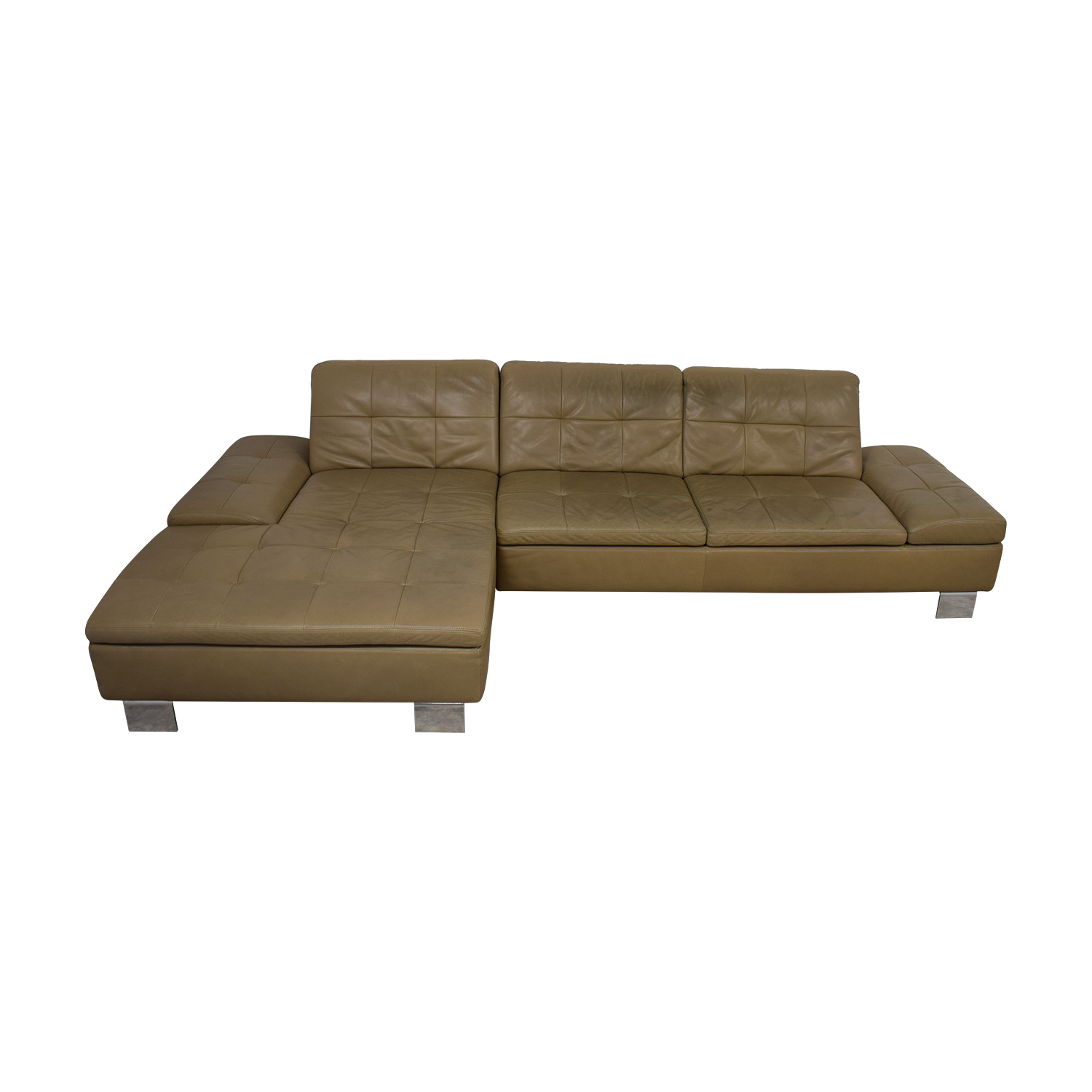 W. Schillig Contemporary Sectional Sofa in Natural Leather / Sofas