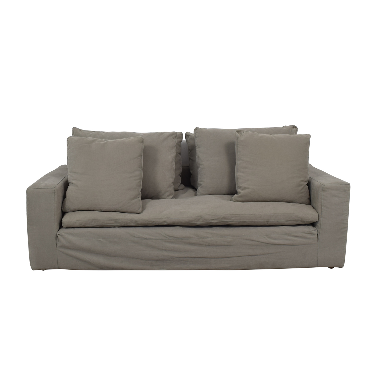 Restoration Hardware Grey Cloud Track Arm Single Cushion Sofa Gray
