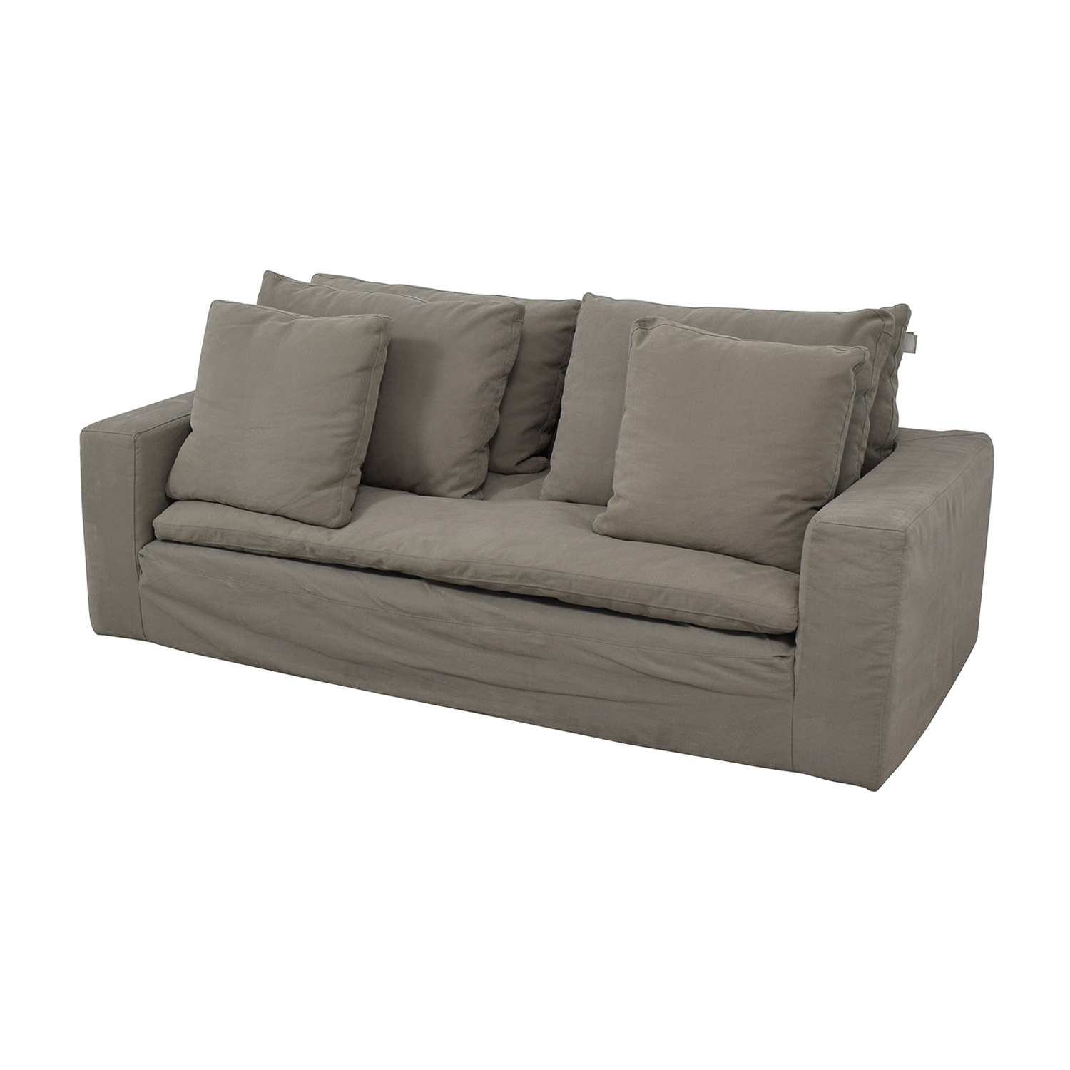 Restoration Hardware Grey Cloud Track Arm Single Cushion Sofa