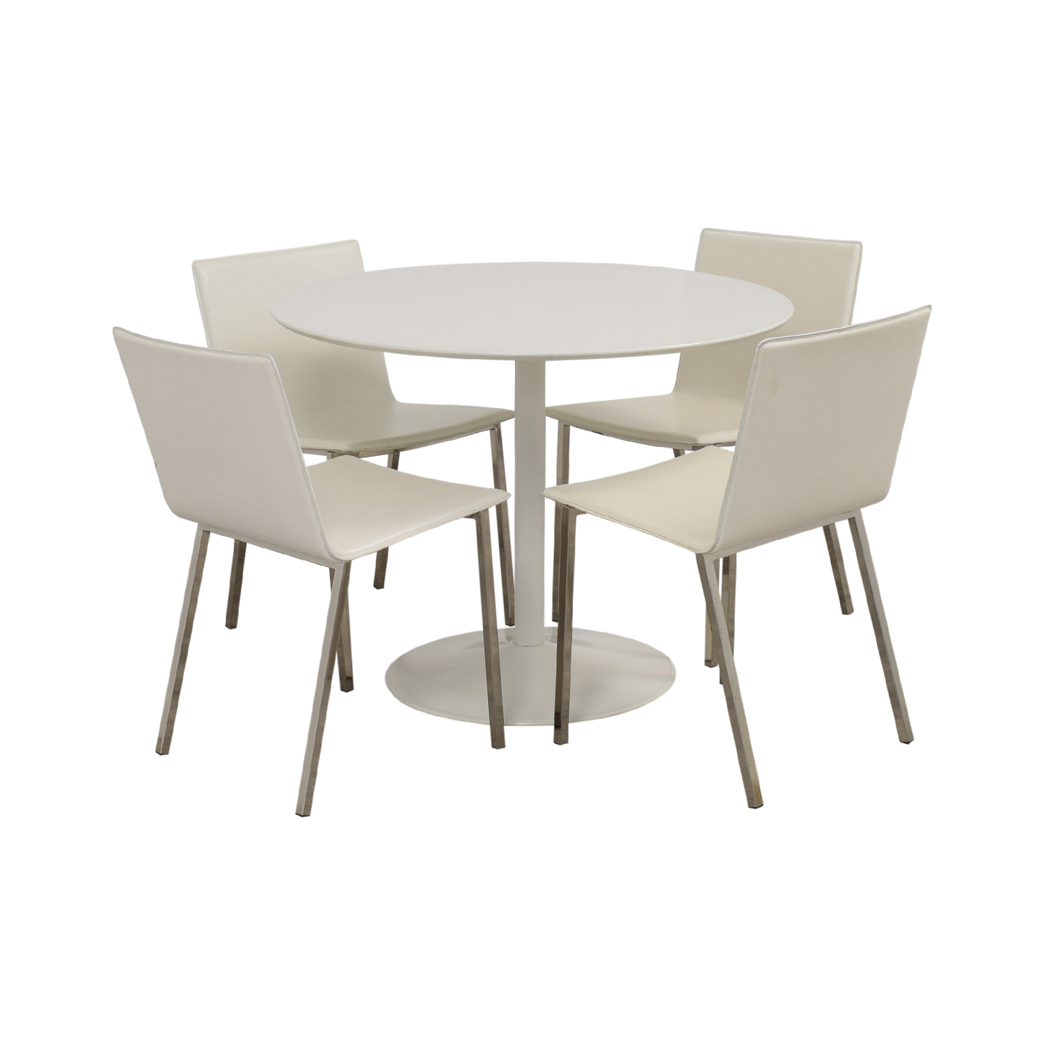 shop CB2 White Round Dining Set CB2 Dining Sets