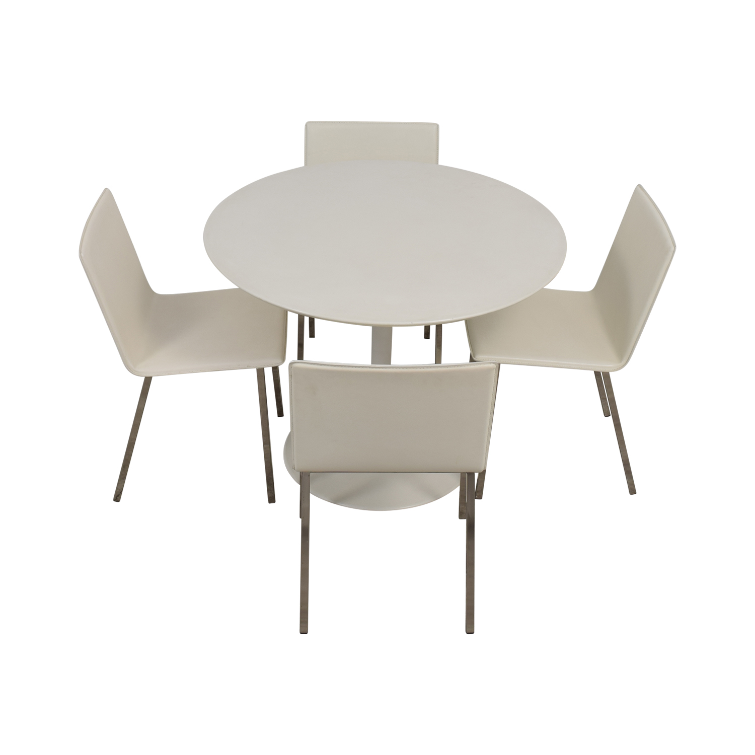 buy CB2 White Round Dining Set CB2 Dining Sets