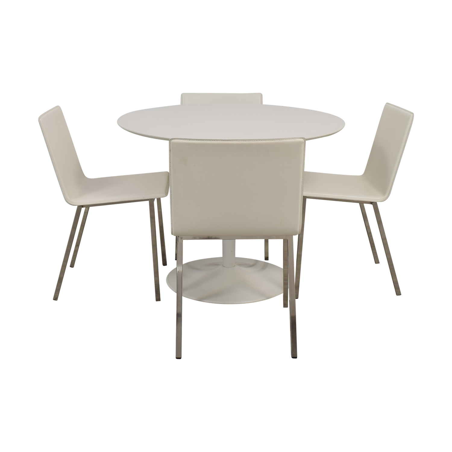 CB2 CB2 White Round Dining Set dimensions