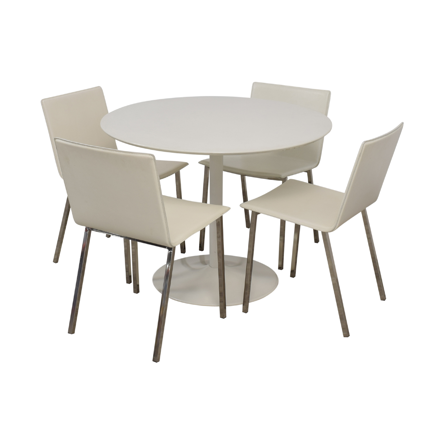 CB2 CB2 White Round Dining Set