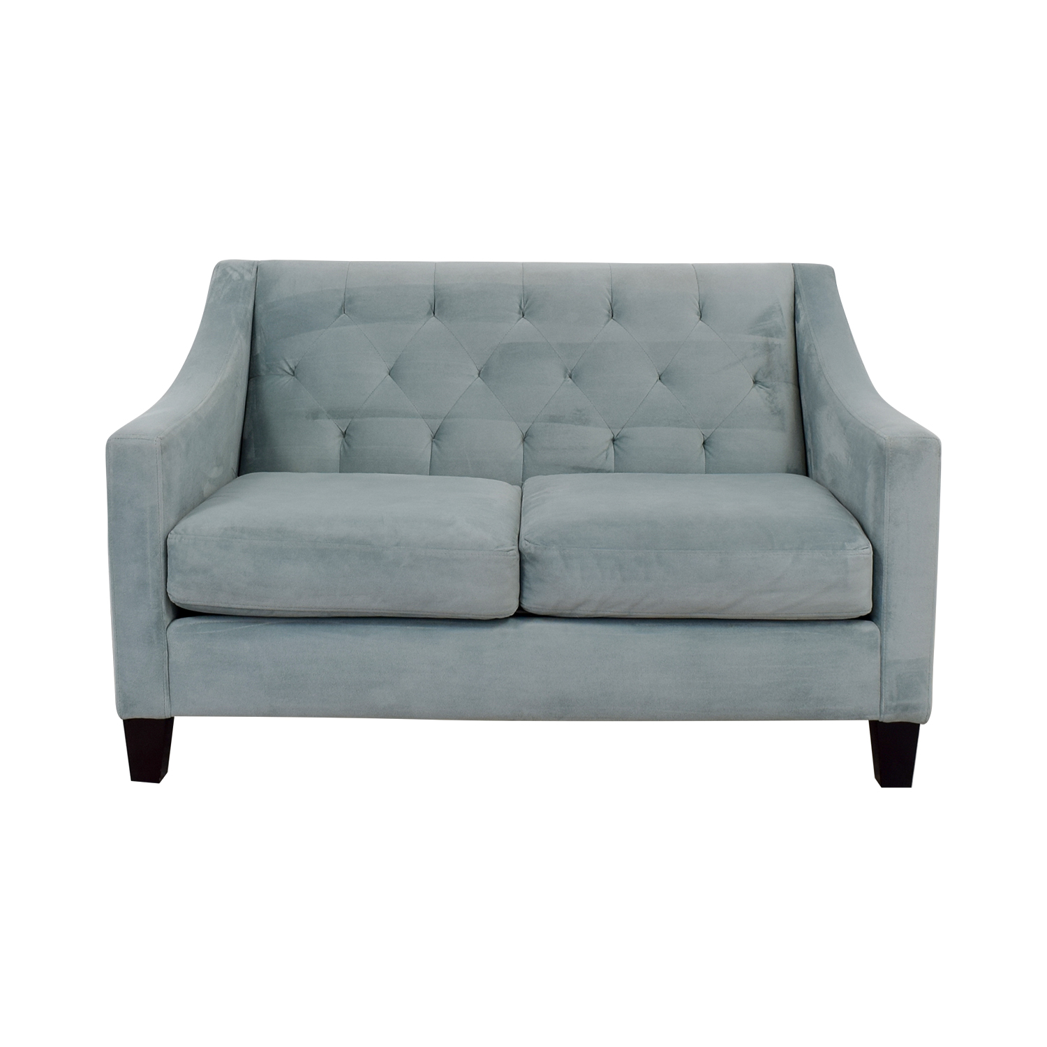 Max Home Baby Blue Tufted Two Cushion Loveseat Loveseats