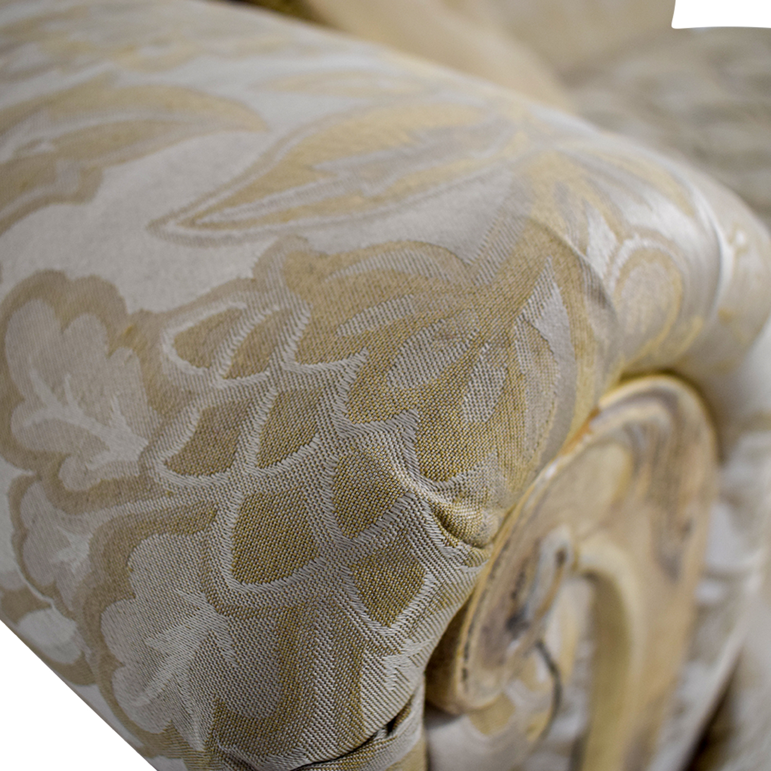 Schnadig Beige Jacquard Tufted Chaise Lounge Schnadig