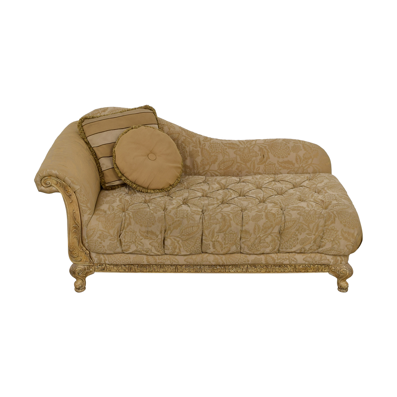 Schnadig Beige Jacquard Tufted Chaise Lounge sale