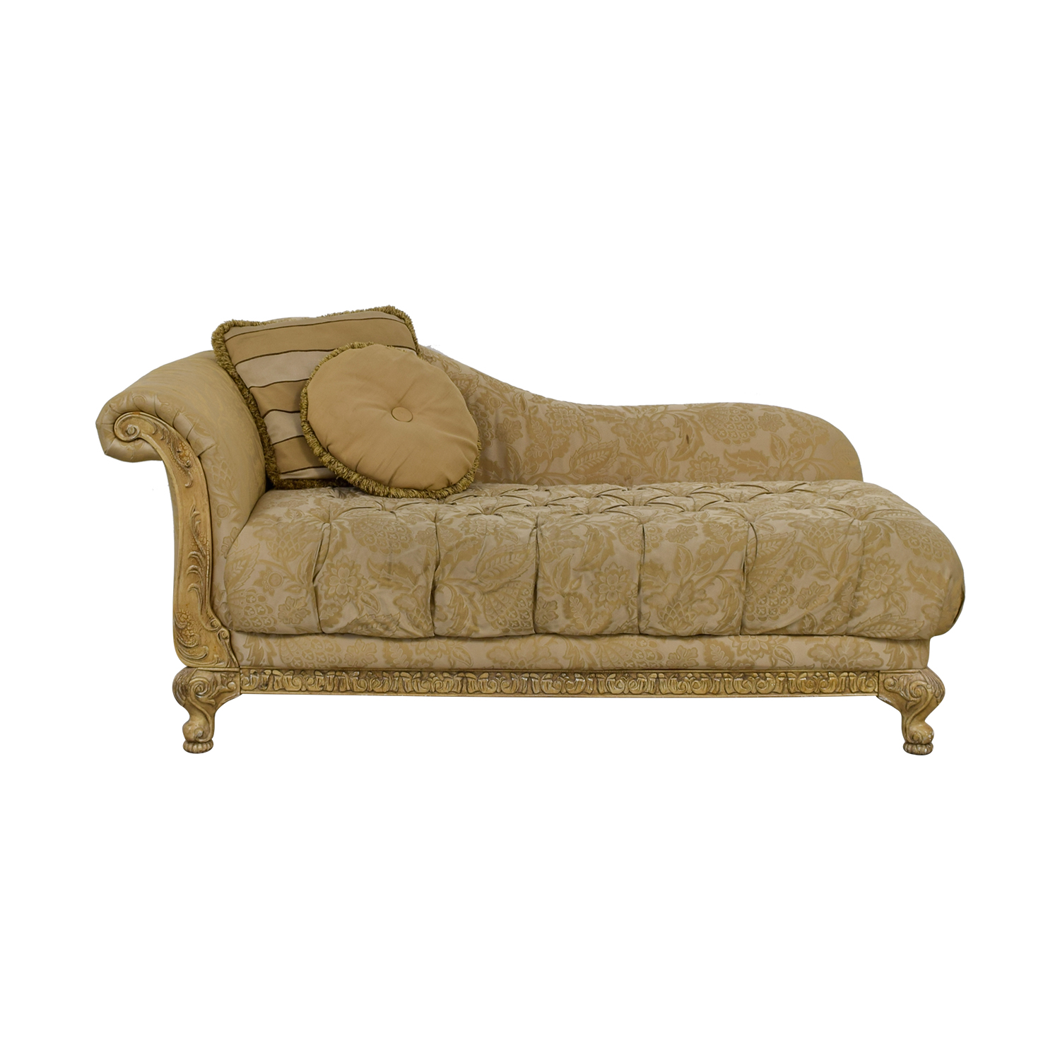 90% OFF - Schnadig Schnadig Beige Jacquard Tufted Chaise Lounge / Sofas