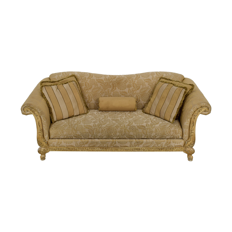 Schnadig Beige and Tan Jacquard Single Cushion Sofa Schnadig