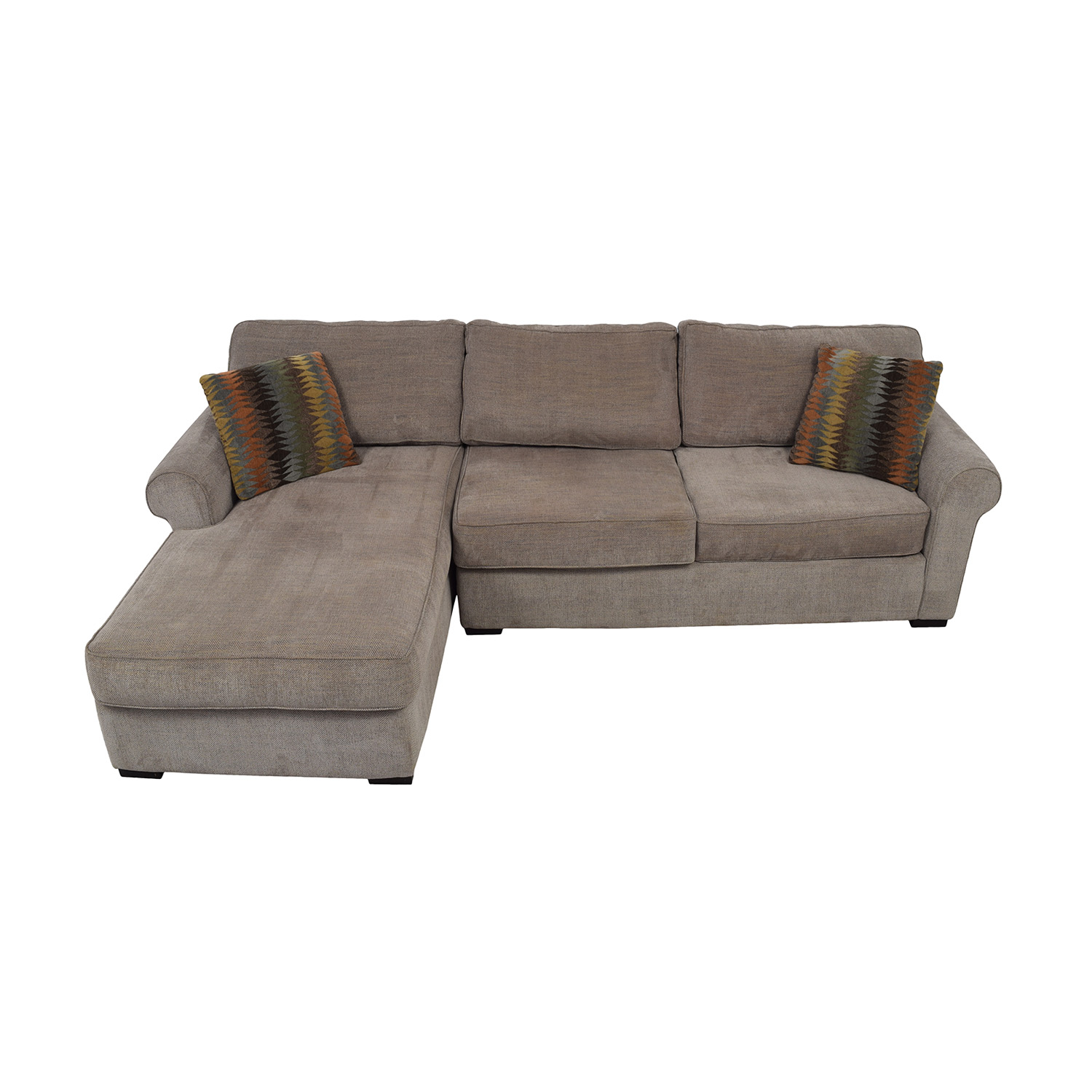 Raymour & Flanigan Raymour & Flanigan Brown Tweed Chaise Sectional second hand