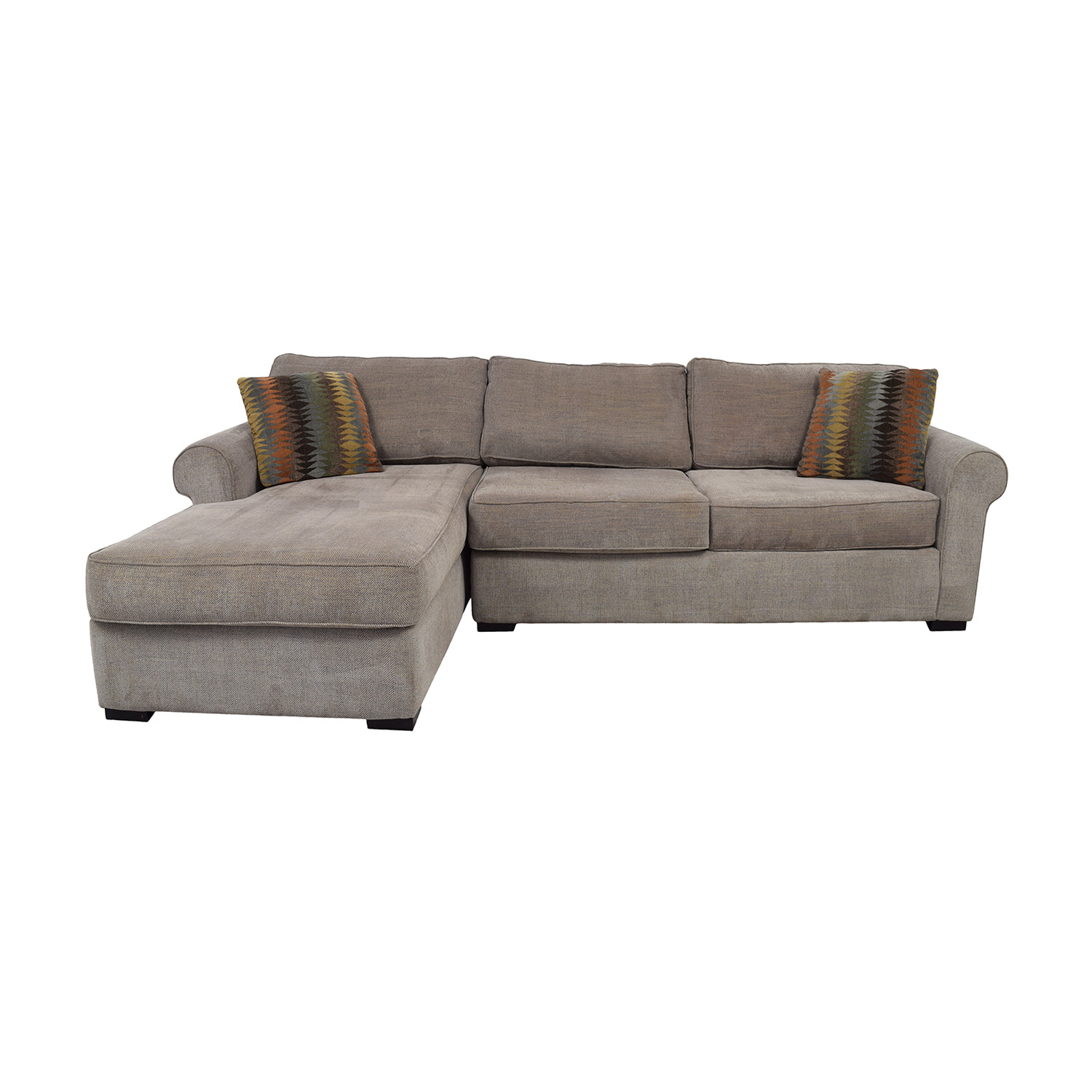 Raymour & Flanigan Raymour & Flanigan Brown Tweed Chaise Sectional dimensions