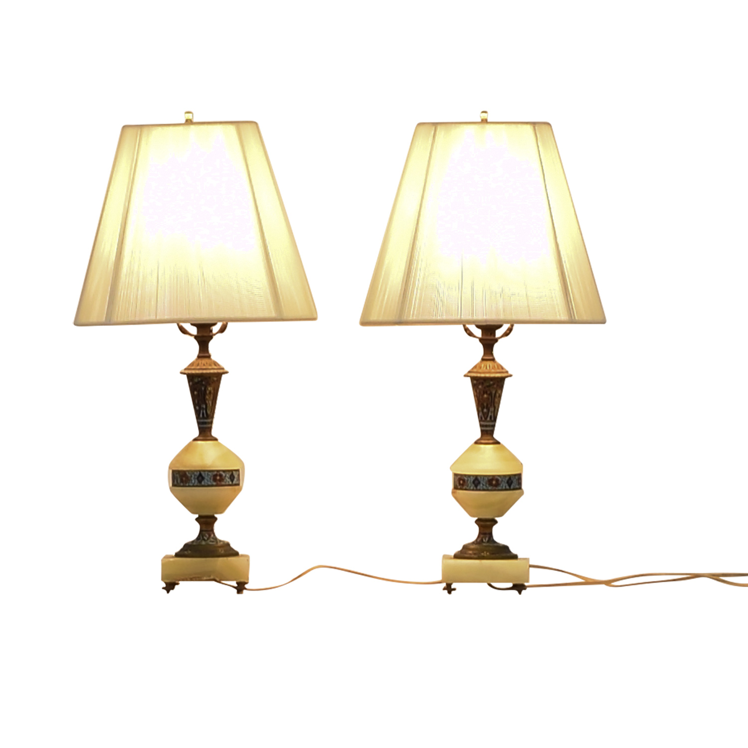 Vintage Cloisonne and Marble Table Lamps discount