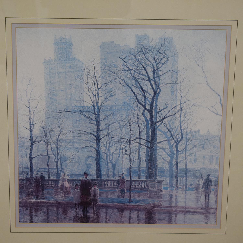 shop Balangier Framed Print of Central Park Winter Scene Balangier Wall Art