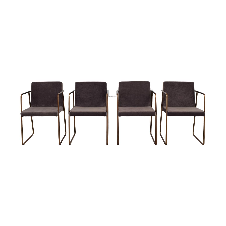 shop CB2 Gray Velvet Dining Chairs CB2