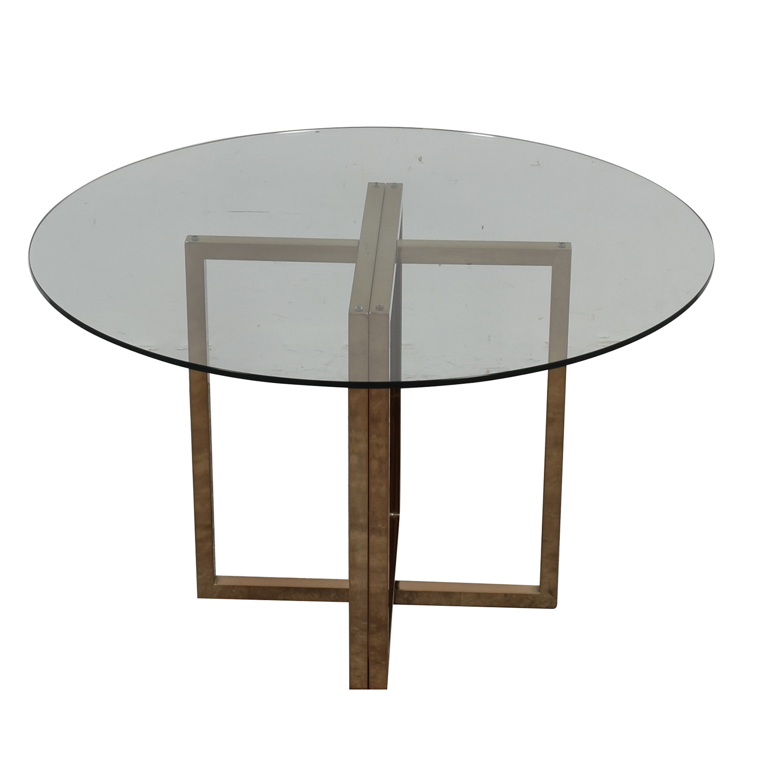 CB2 CB2 Glass and Chrome Round Dining Table Dinner Tables