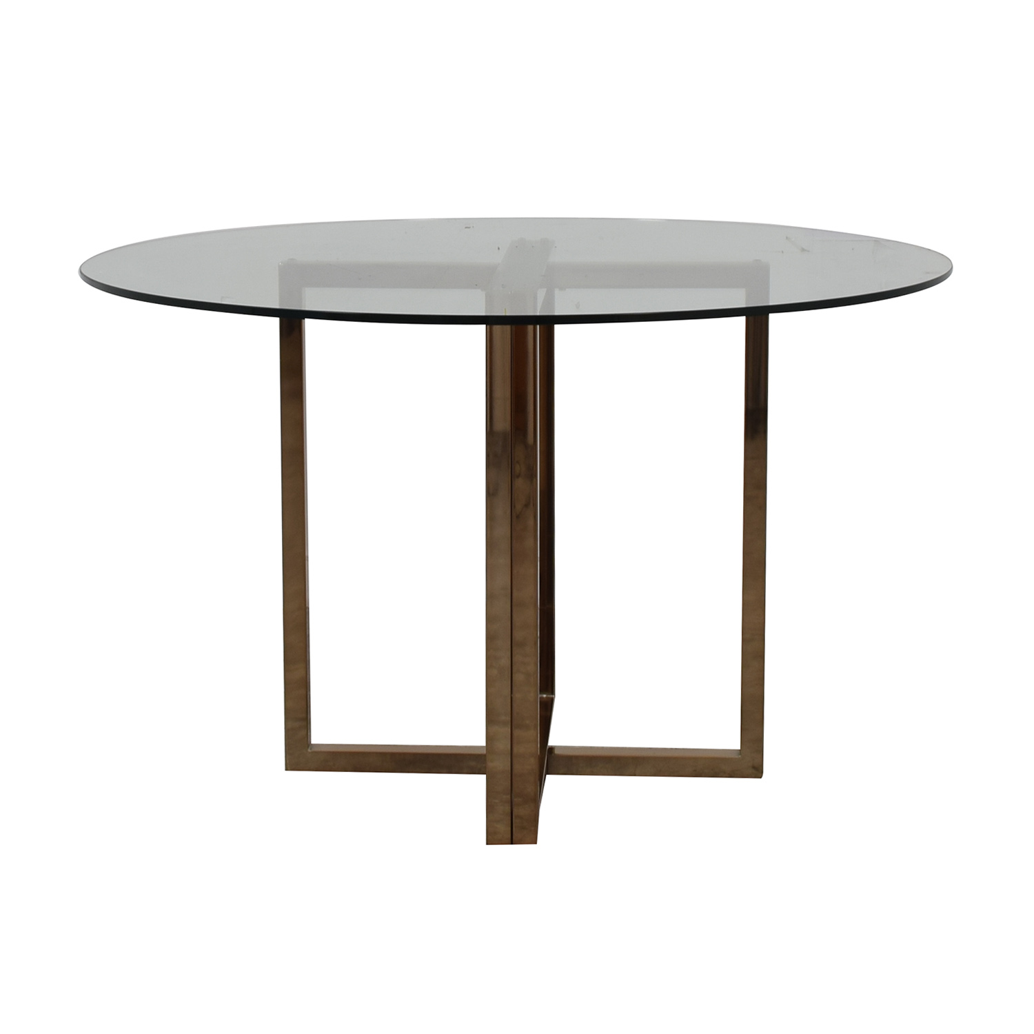 CB2 Glass and Chrome Round Dining Table / Dinner Tables