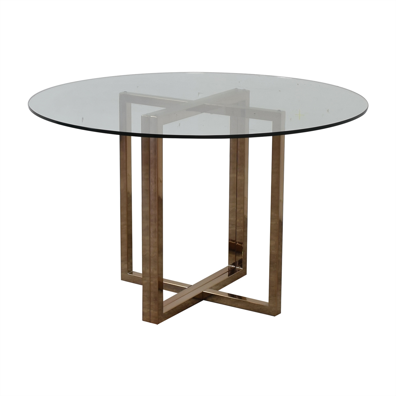 78 Off Cb2 Cb2 Glass And Chrome Round Dining Table Tables
