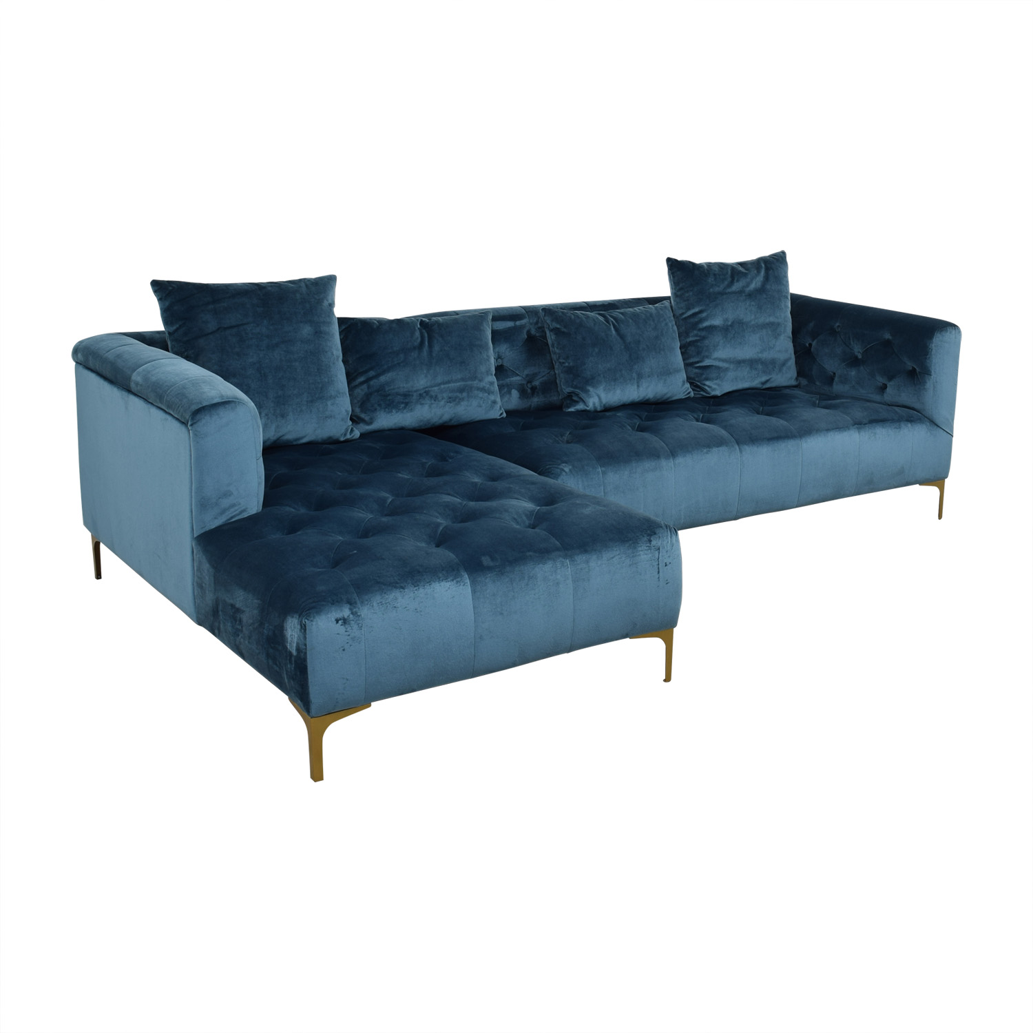 Ms. Chesterfield Ocean Blue Tufted Left Chaise Sectional Sofas