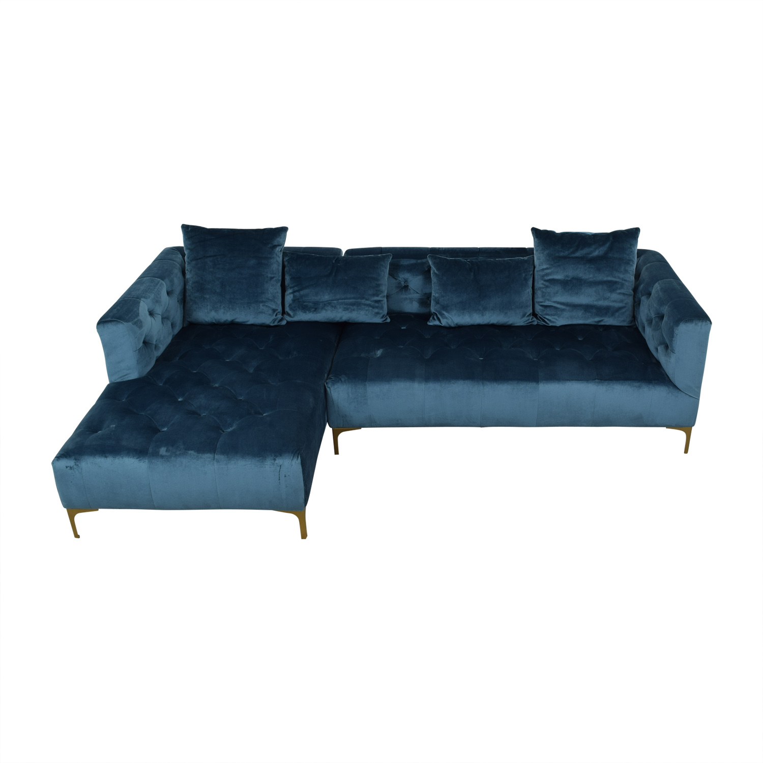 Ms. Chesterfield Ocean Blue Tufted Left Chaise Sectional discount