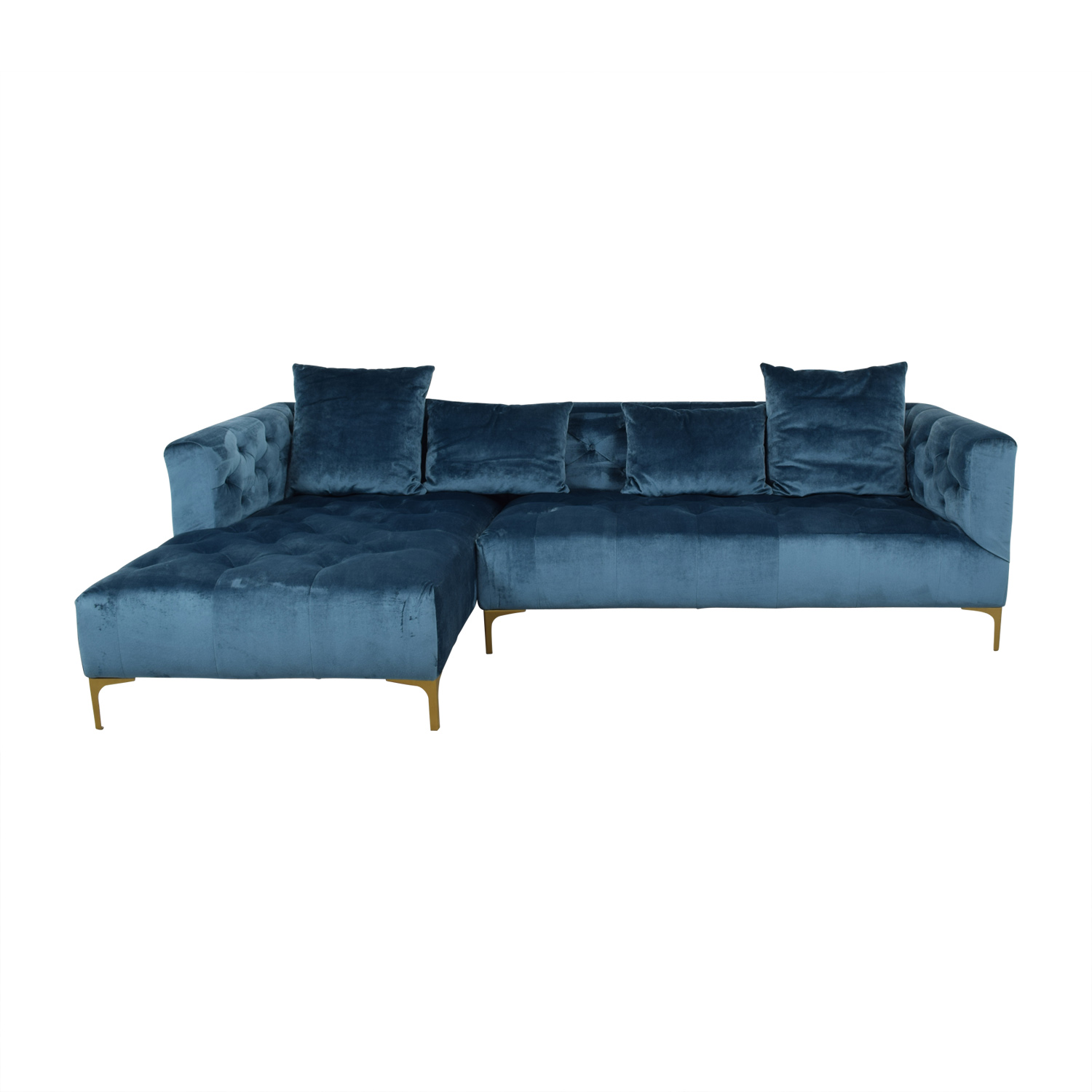 Ms. Chesterfield Ocean Blue Tufted Left Chaise Sectional nyc