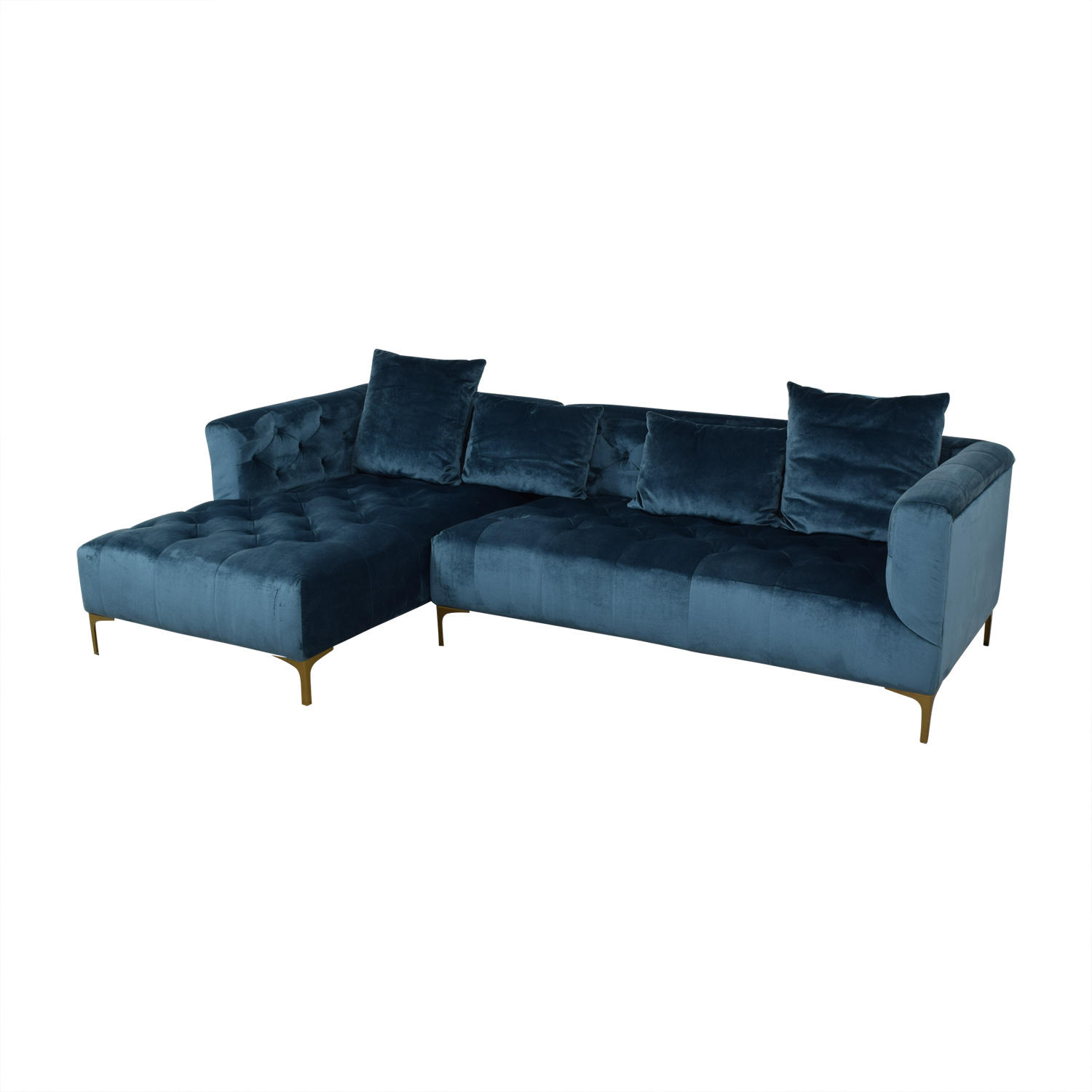 Ms. Chesterfield Ocean Blue Tufted Left Chaise Sectional on sale