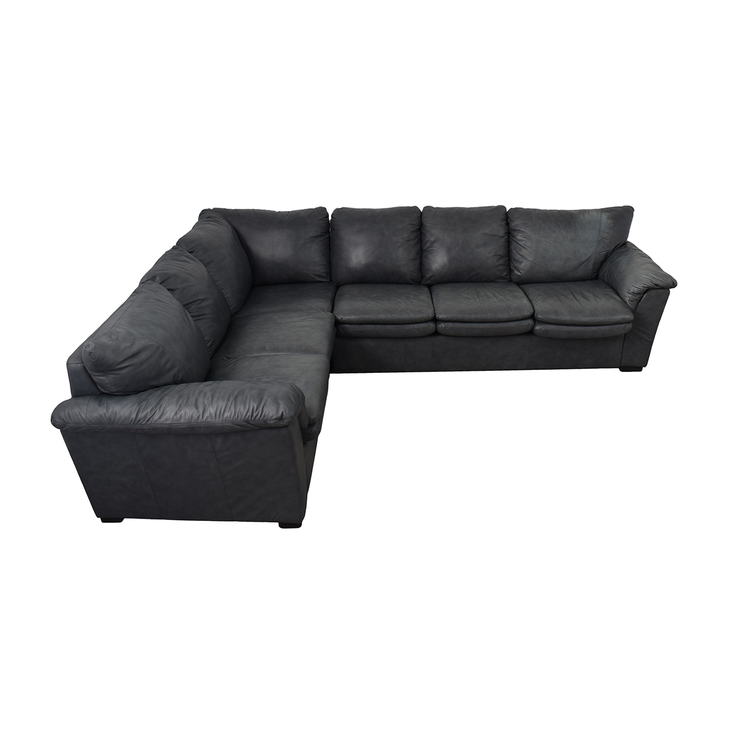 Jaymar Furniture Charcoal Leather L-Shaped Sectional sale