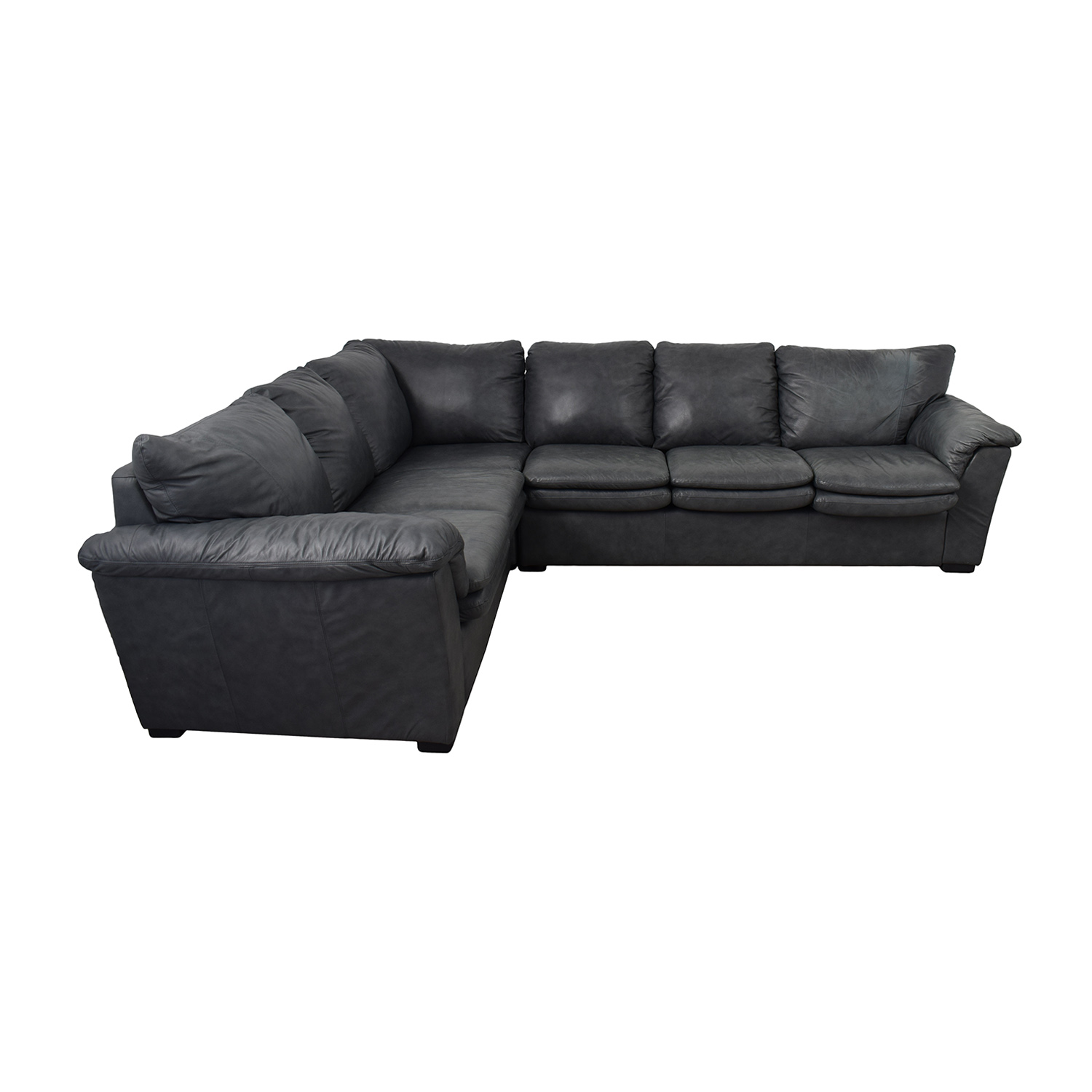 Jaymar Furniture Charcoal Leather L Shaped Sectional Sofas