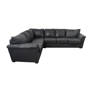 Jaymar Jaymar Furniture Charcoal Leather L-Shaped Sectional coupon