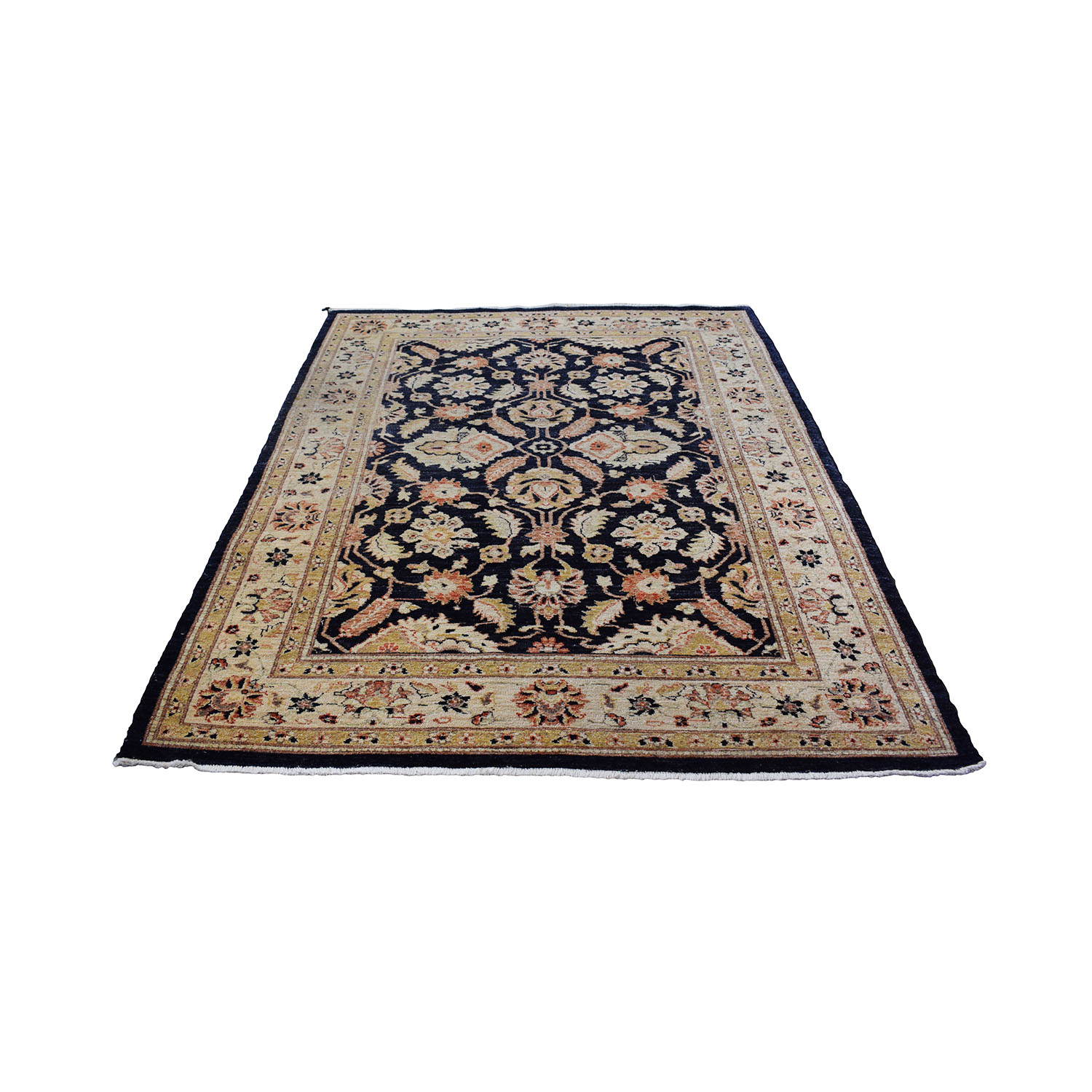 Navy Beige and Gold Rug sale