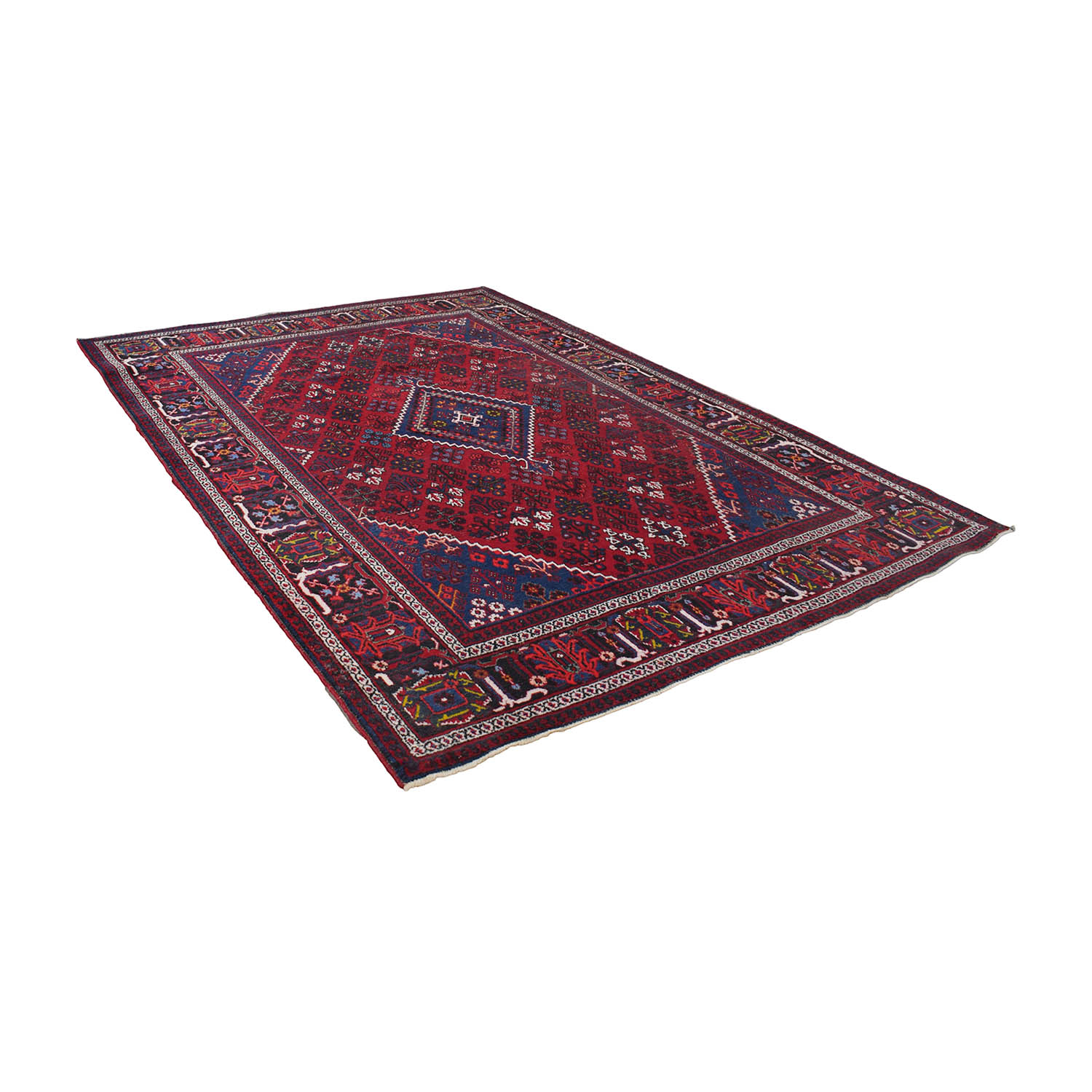 Diamond Burgundy Red and Navy Blue Rug Rugs