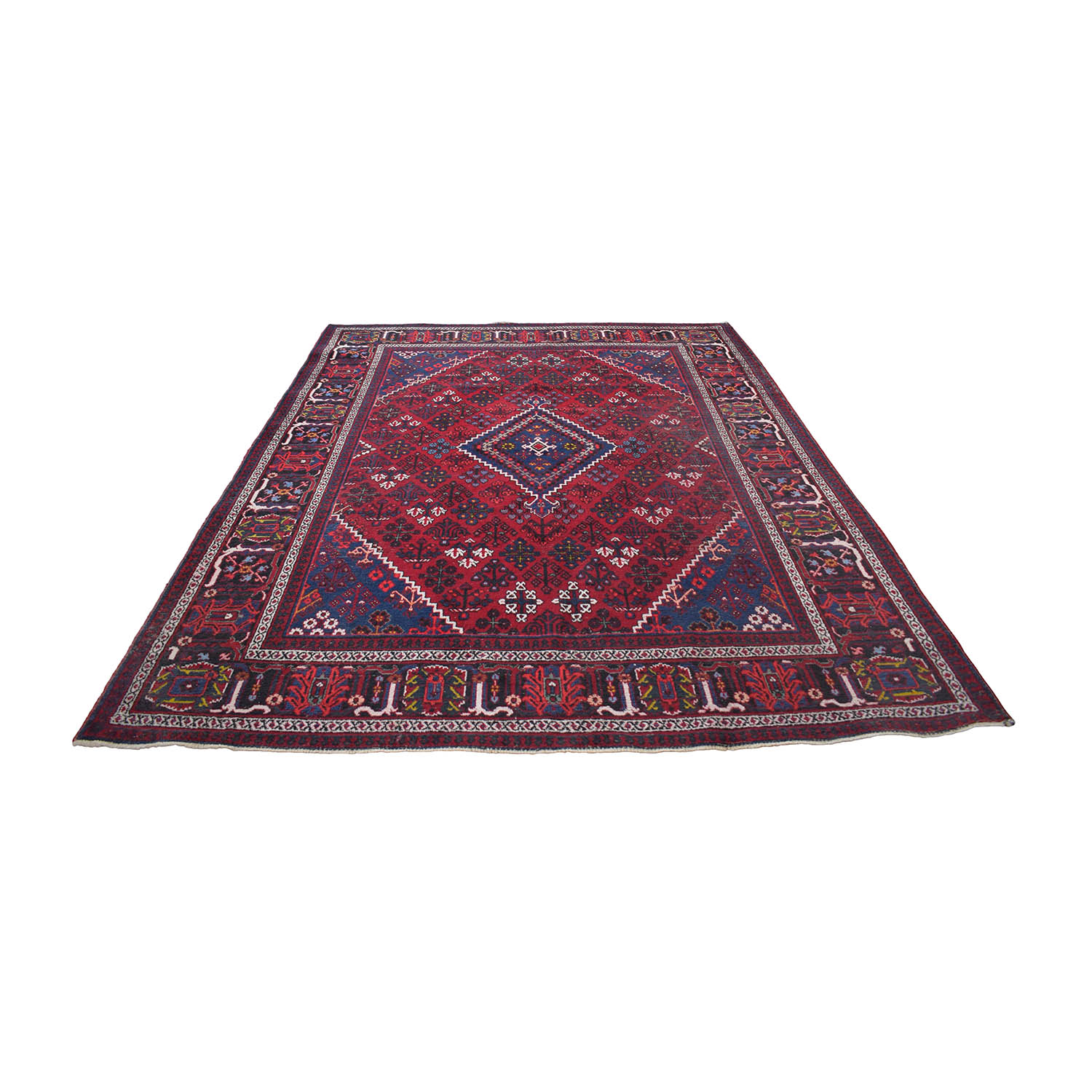 Diamond Burgundy Red and Navy Blue Rug used