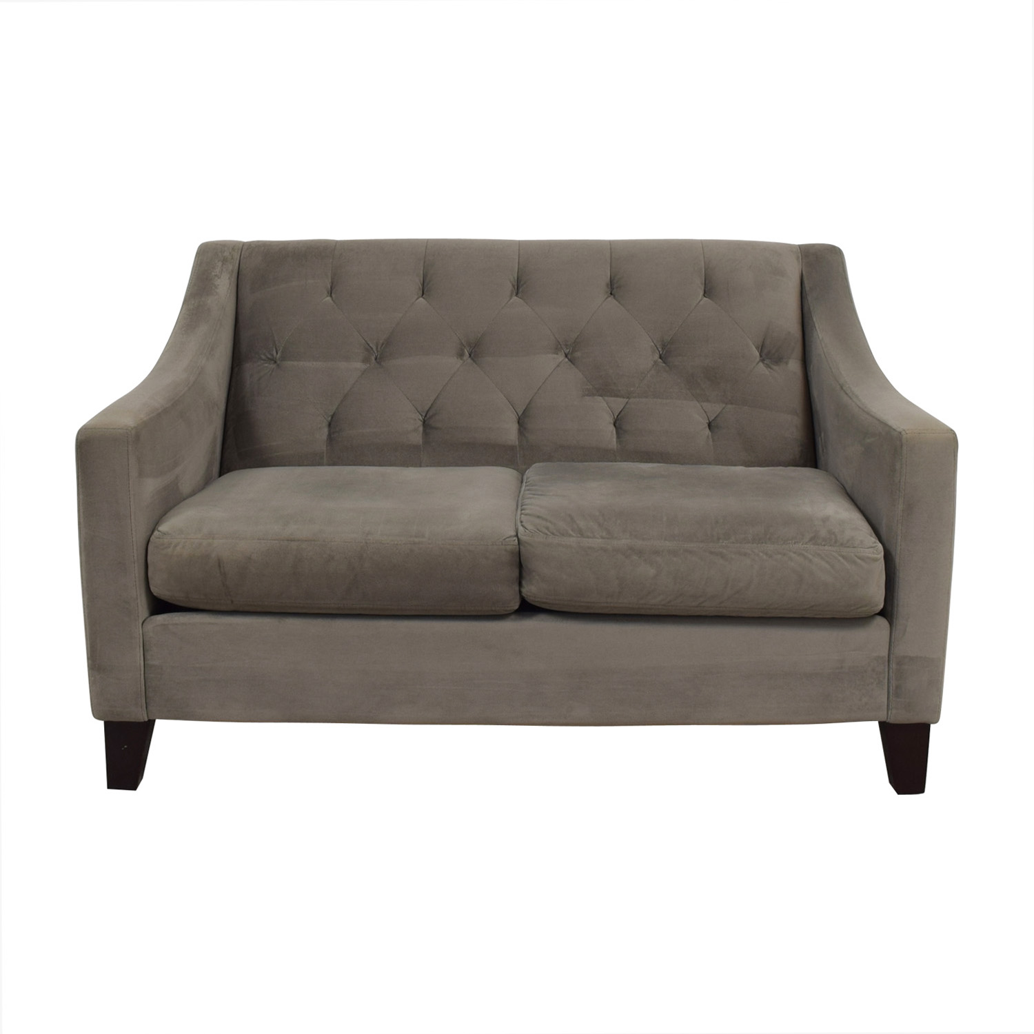 Max Home Max Home Grey Tufted Two-Cushion Love Seat Loveseats