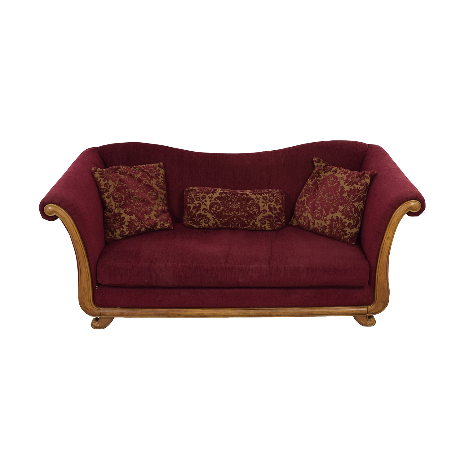 shop Bernhardt Maroon Single-Cushion Camel Back Sofa Bernhardt