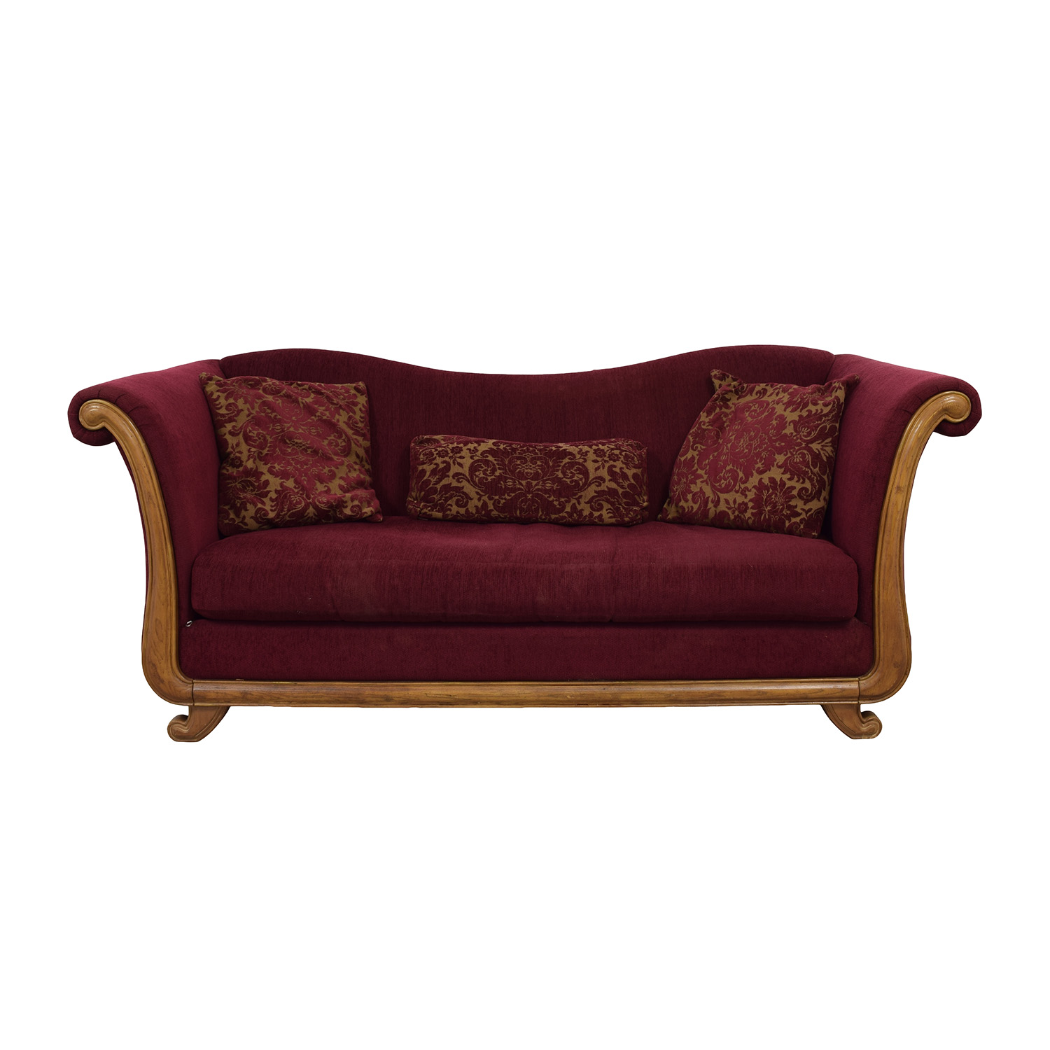 buy Bernhardt Maroon Single-Cushion Camel Back Sofa Bernhardt