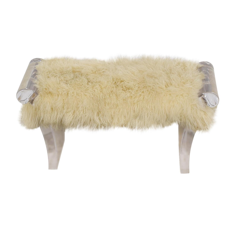 buy Furniture Masters White Flokati Ottoman Furniture Masters