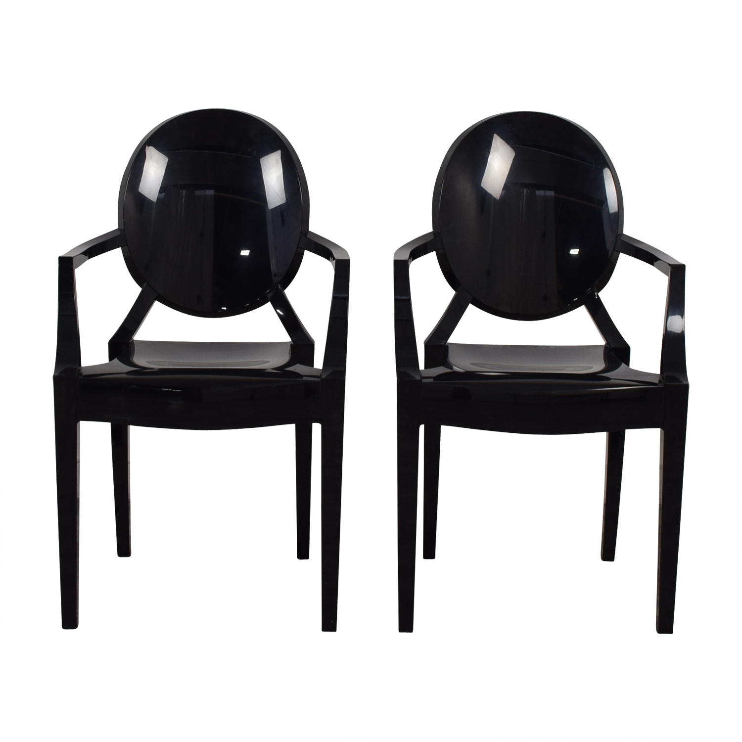 Kartell Philippe Starck For Kartell Louis Black Ghost Chairs Used ...
