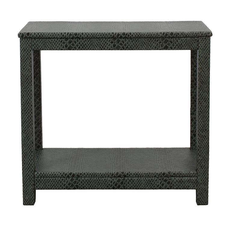 Society Social Dark Green Faux Crocodile Leather Console Table sale