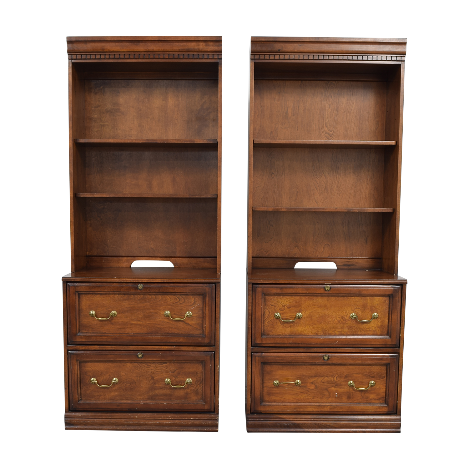 buy Hooker Wood Two-Drawer File Cabinets with Adjustable Shelving Hutches Hooker Storage