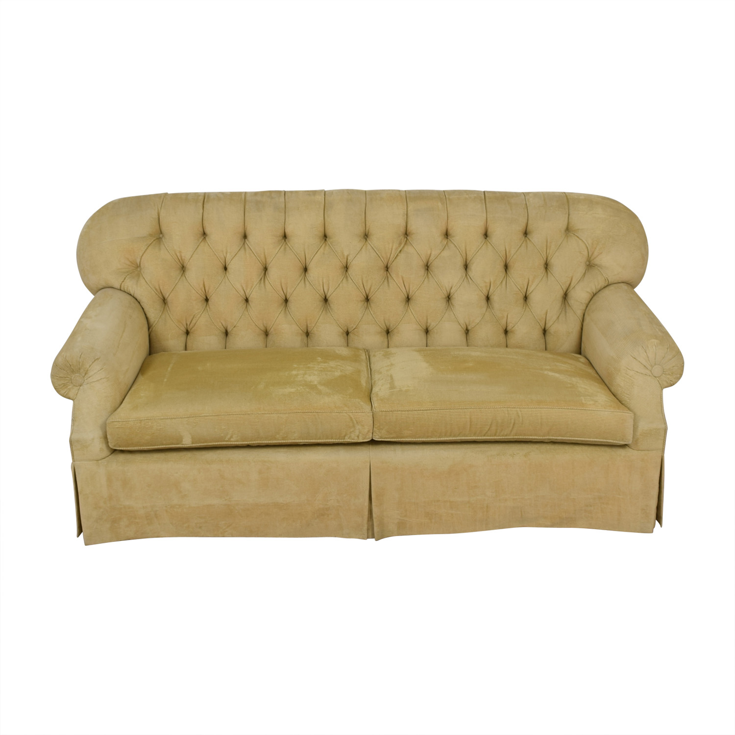 Furniture Masters Beige Tufted Two-Cushion Sofa / Classic Sofas