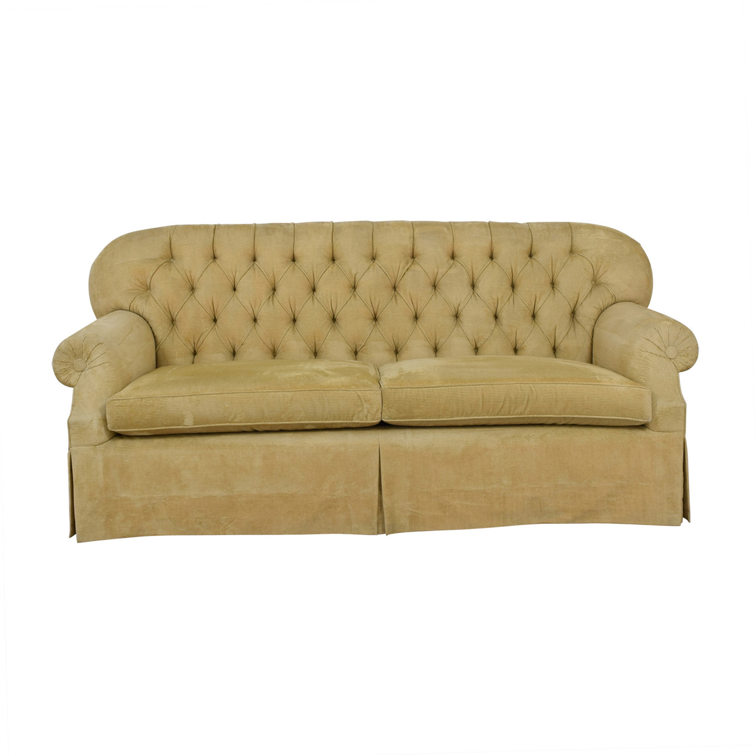 Furniture Masters Furniture Masters Beige Tufted Two-Cushion Sofa dimensions