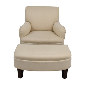 Furniture Masters Furniture Masters Beige Herringbone Accent Chair with Ottoman second hand