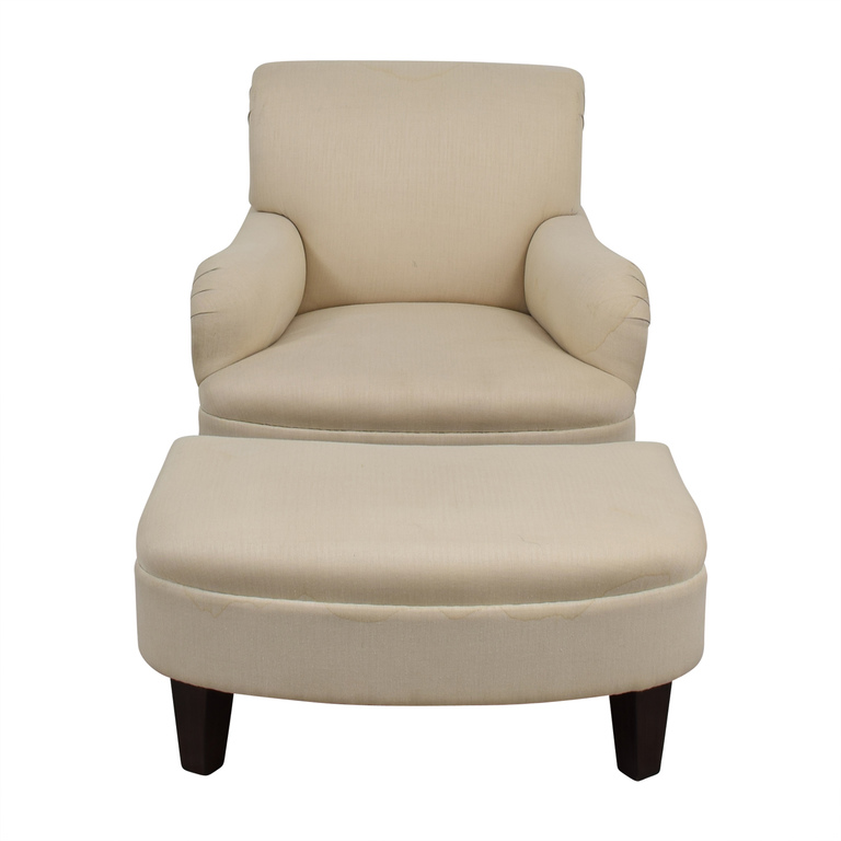 Furniture Masters Beige Herringbone Accent Chair with Ottoman Furniture Masters