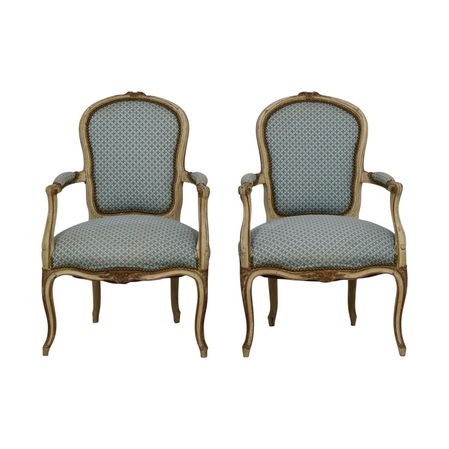 Furniture Masters Furniture Masters Blue and White Accent Chairs discount