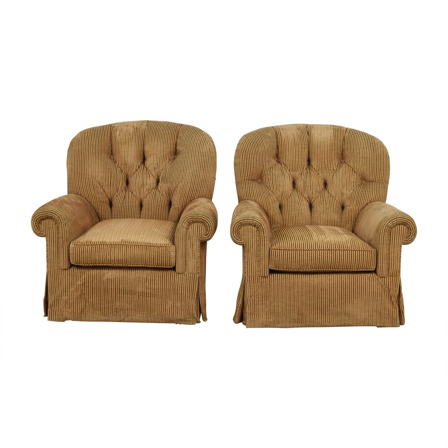 Furniture Masters Furniture Masters Brown Tufted Club Chairs discount