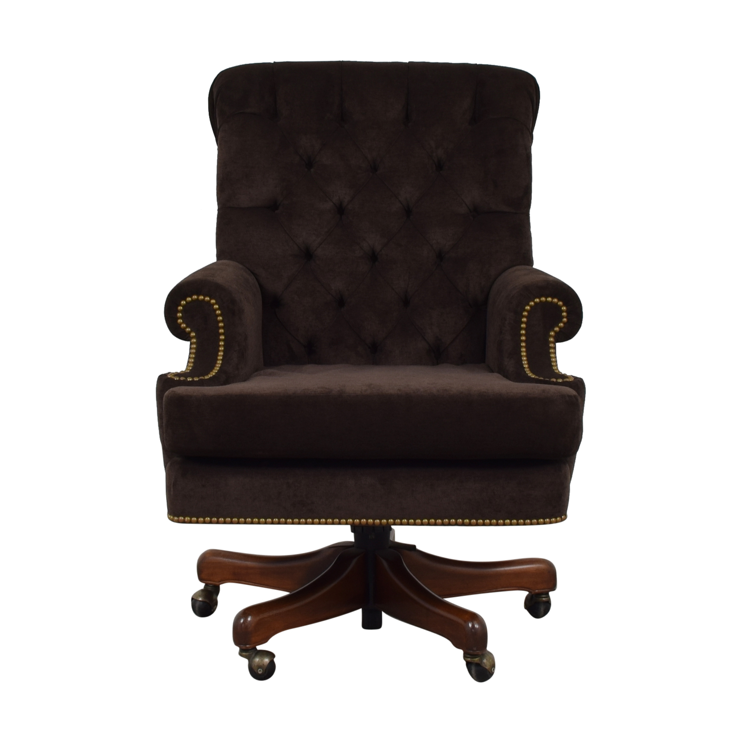 Furniture Masters Furniture Masters Brown Nailhead Tufted Desk Chair on Castors nyc
