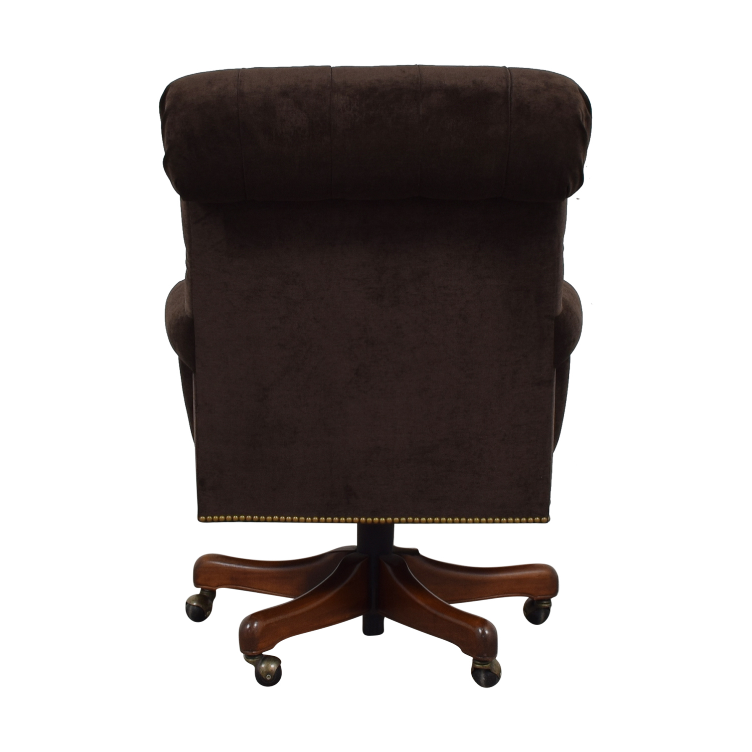 buy Furniture Masters Furniture Masters Brown Nailhead Tufted Desk Chair on Castors online