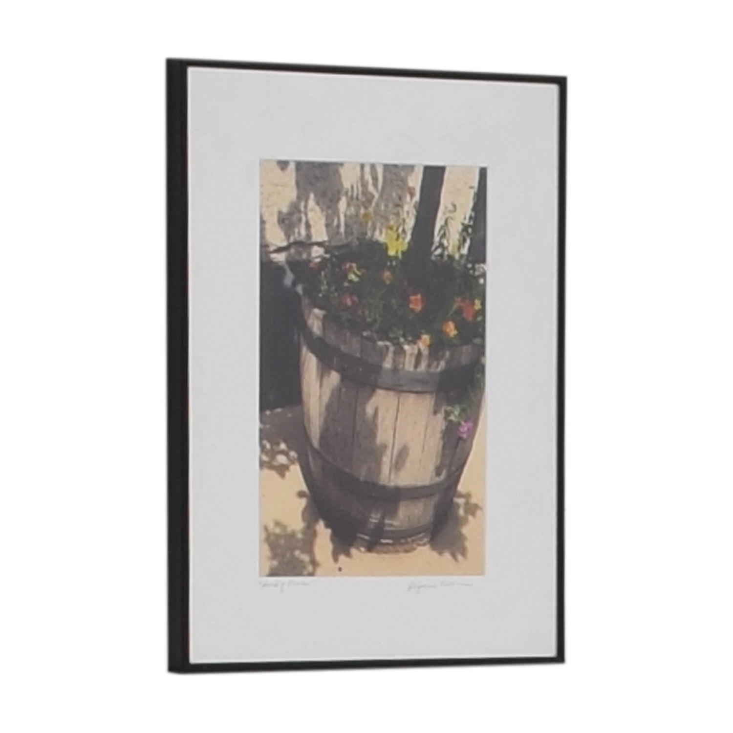 Stephanie Easton Stephanie Easton Signed Photograph of Floral Wood Barrel for sale